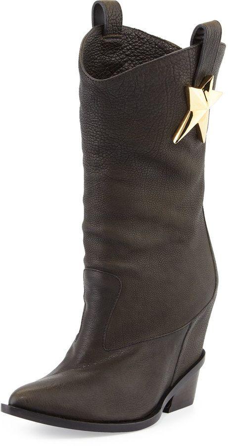 b056260f10bf Giuseppe Zanotti Leather Mid-Calf Western Boot
