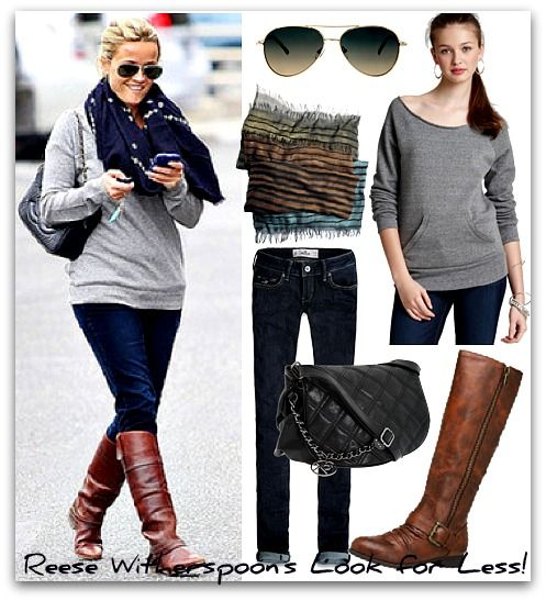 riding boots outfit ideas | Celebrity Copycat: Reese Witherspoon's ...