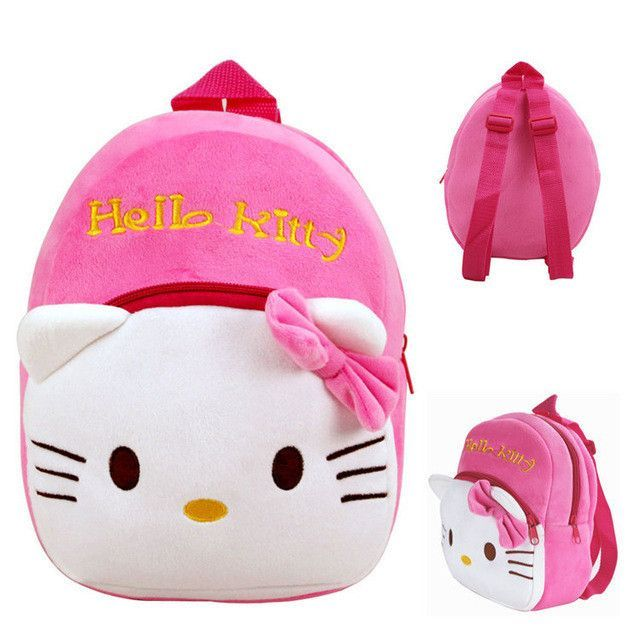 Cartoon Kids Plush Backpacks Spiderman Mini schoolbag Hello Kitty Plush Backpack  Children School Bags Girls Boys Backpack 7127fa4631ae3