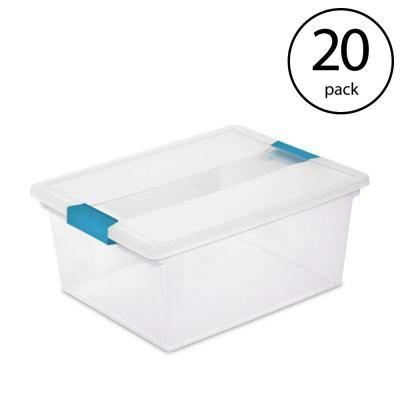 Sterilite Deep Clip Box Clear Plastic Storage Bin Container With