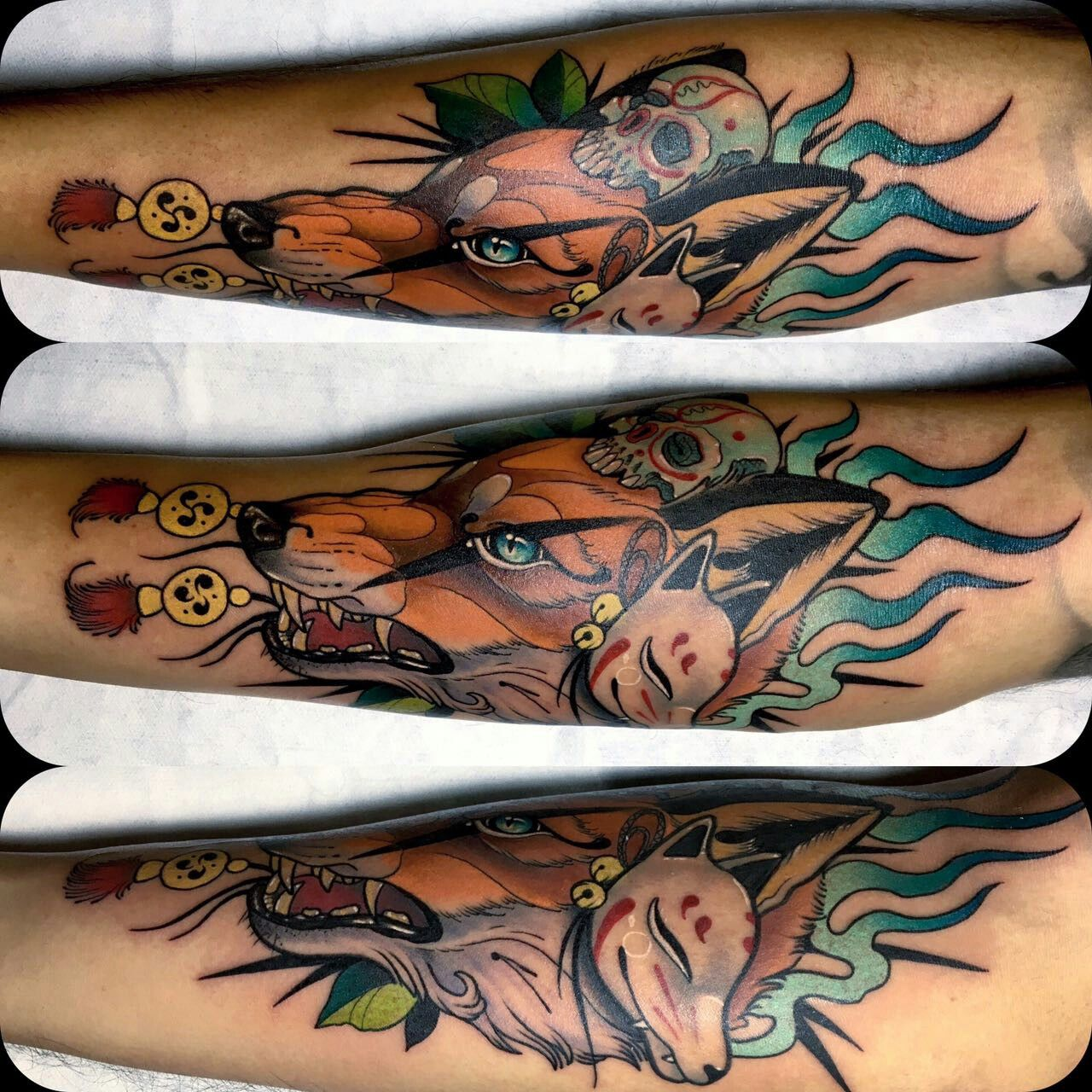 kitsune tattoo japanese tattoo fox oriental neotrad neotradicional popayan colombia tattoo art. Black Bedroom Furniture Sets. Home Design Ideas