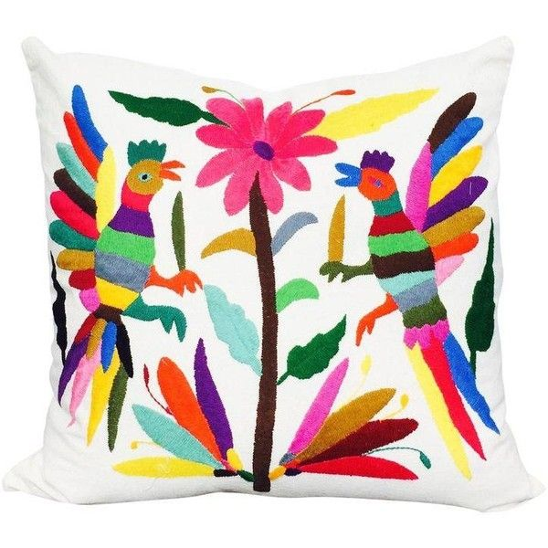 Otomi Pillowcase, Hand Embroidered From Mexico ($80) ❤ liked on Polyvore featuring home, bed & bath, bedding, bed sheets, throw pillows, embroidered bedding, embroidered pillow cases, hand embroidered pillow cases, hand embroidered pillowcases and bright colored bedding