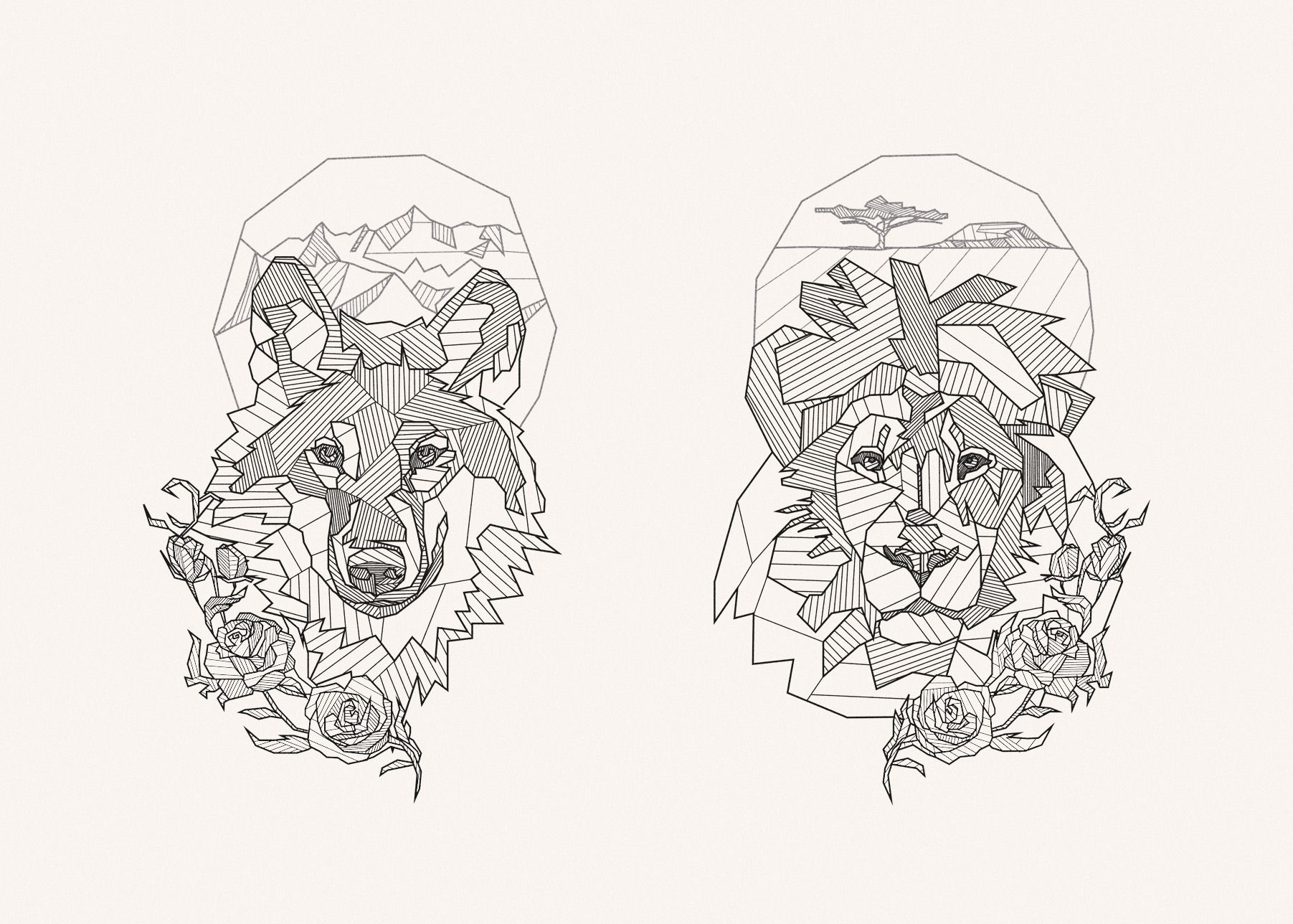 geometric tattoo design lion wolf roses mountains tree