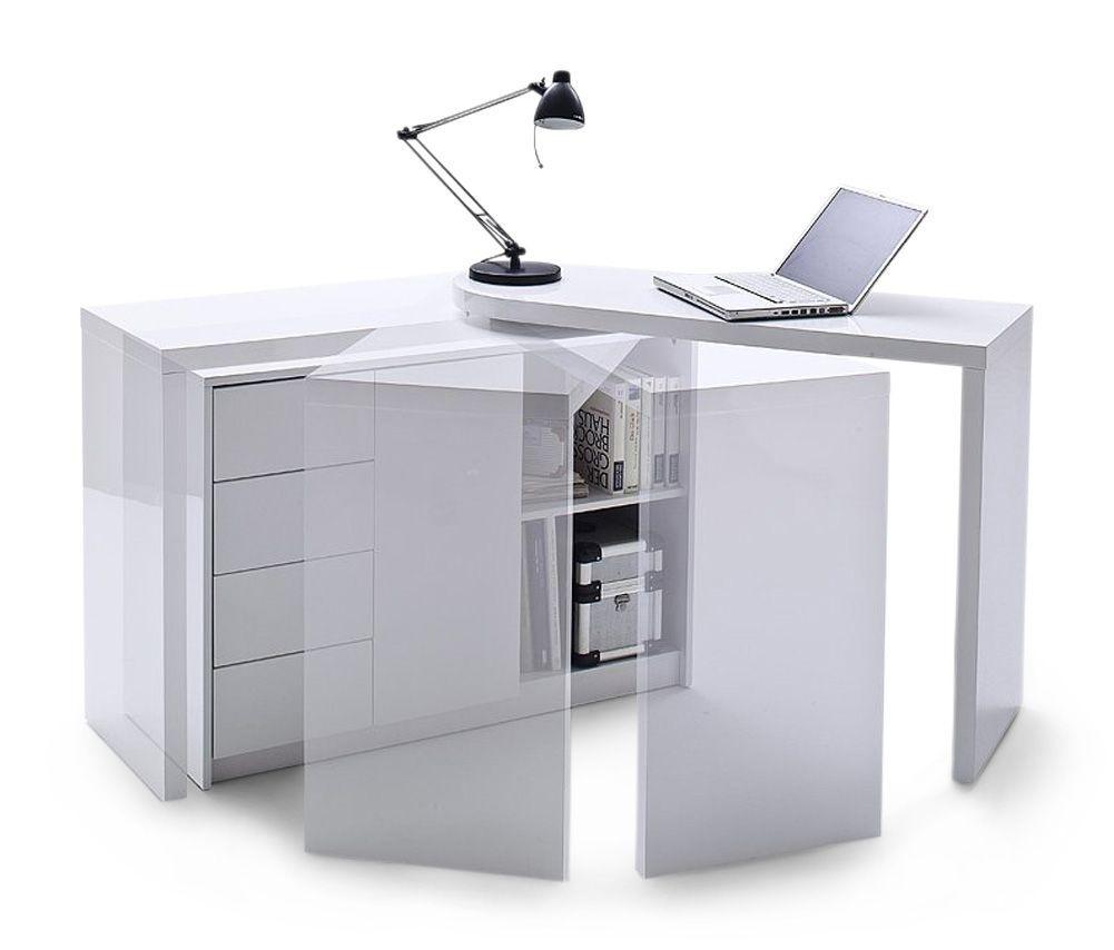 Fairmont Zantos White High Gloss Deluxe Desk With Drawers First Furniture Schreibtischideen Schrank Regale Schreibtischablage