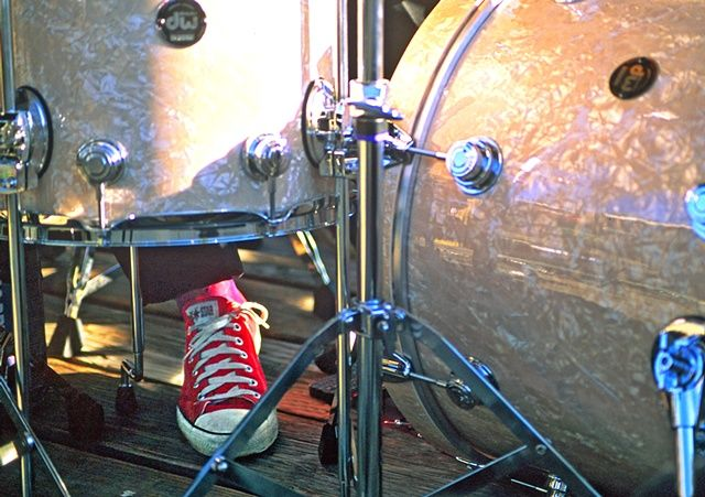 The drummer's red sneaker. Gail Rousseau Photography.