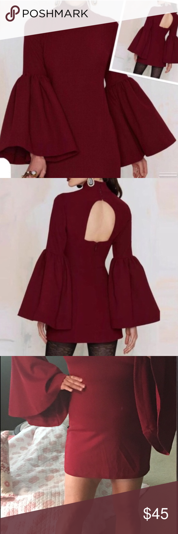 """NWT Deep Wine Color Bell Sleeve Mini Dress  - 14 Bell sleeves are the hot silhouette of Fall 2016. Burgundy is a classic color. This dress is gorgeous. It has a lot of stretch. Mid weight. Feels like polyester spandex material. Nice lay but with stretch and forgiveness. Close fitting with a small mock turtle neck and open back. Back zip with hook and eye closures at the neck. The sleeves are what makes it. Can be worn as a tunic also. It's short. Best for petite. I'm 5'3"""". It's clearly a…"""