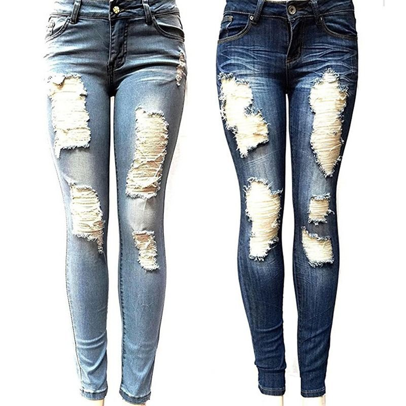Pearl Jeans Women Street Skinny High Wiast Jeans Plus Size Winter Frayed Ripped Jeans for Women Denim Pants