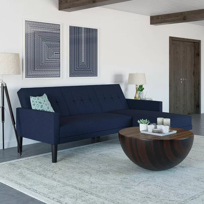 Hadley Small Space Sectional Sofa Futon Room Joy In 2020 Small Space Sectional Sofa Small Space Sectional Sectional Sofa
