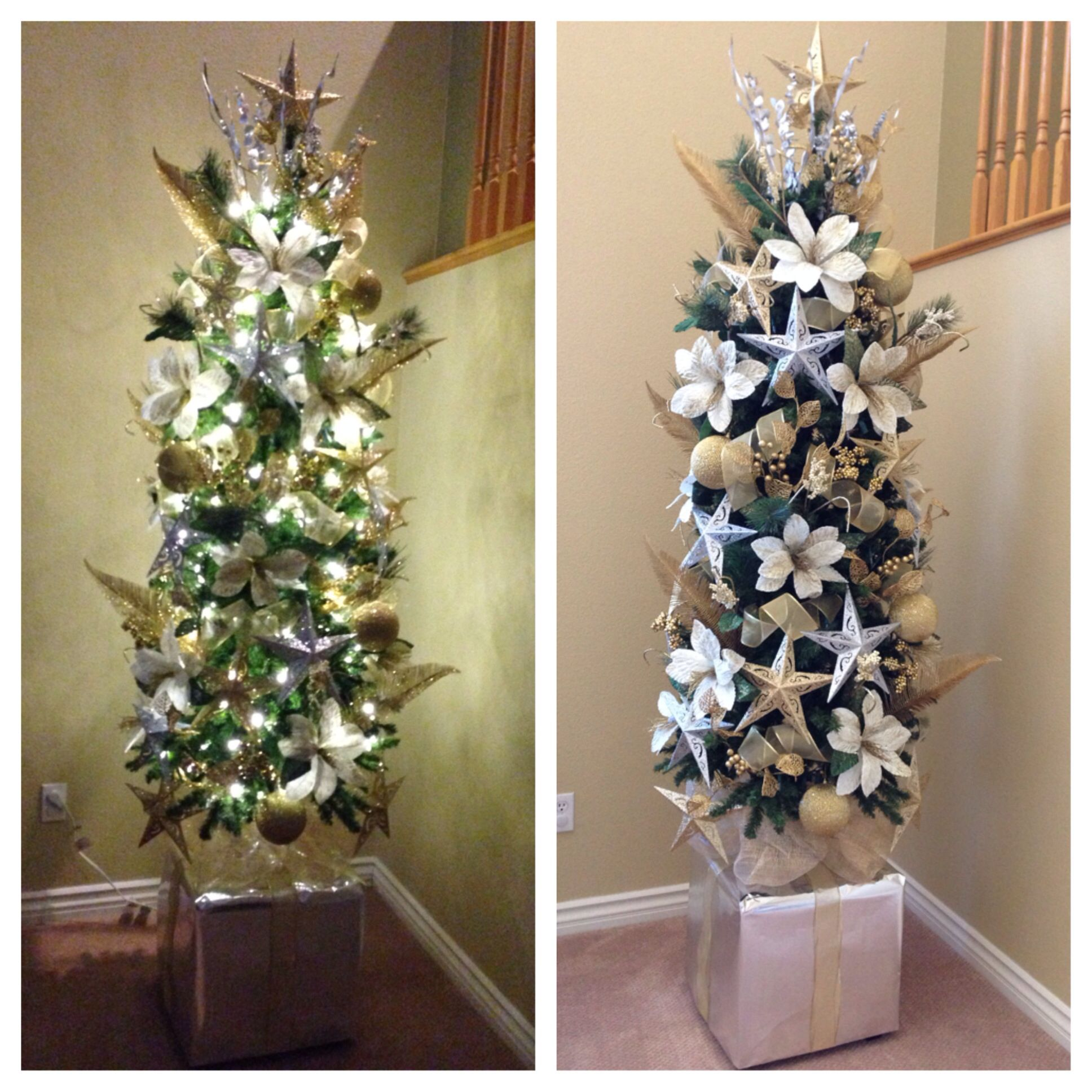 how to make a small christmas tree look bigger on the cheap put it on top of a sturdy base i. Black Bedroom Furniture Sets. Home Design Ideas
