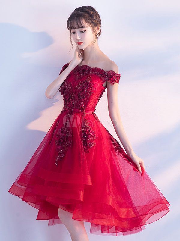 aaf41efc0d Tulle Homecoming Dresses 2018 Short Prom Dresses Red Off The Shoulder Lace  Applique Beading Cocktail Dress