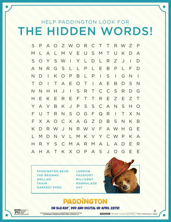 free printable paddington word search