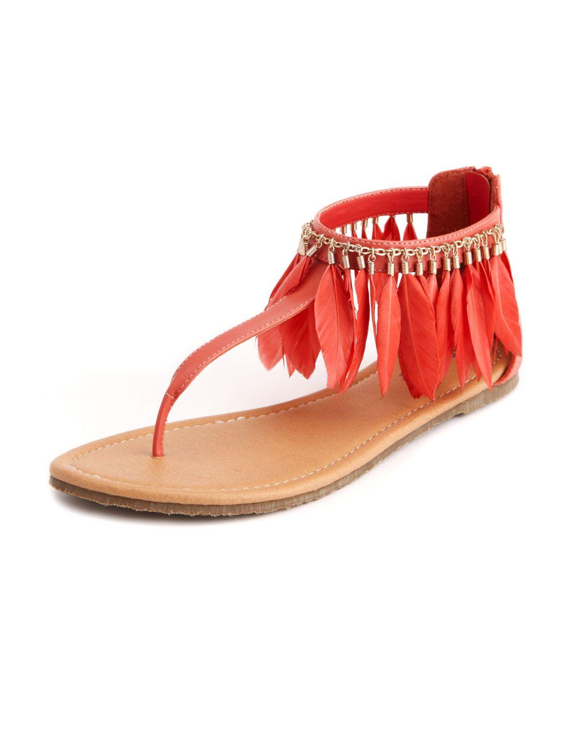 Boho Feather T-Strap Sandal