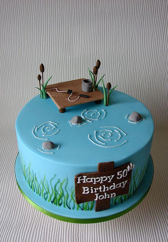 Awe Inspiring Johns Fishing Themed Birthday Cake Fish Cake Birthday Cupcake Personalised Birthday Cards Veneteletsinfo