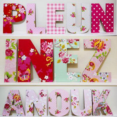 houten #letters voor de #kinderkamer. deze zijn bewerkt met, Deco ideeën