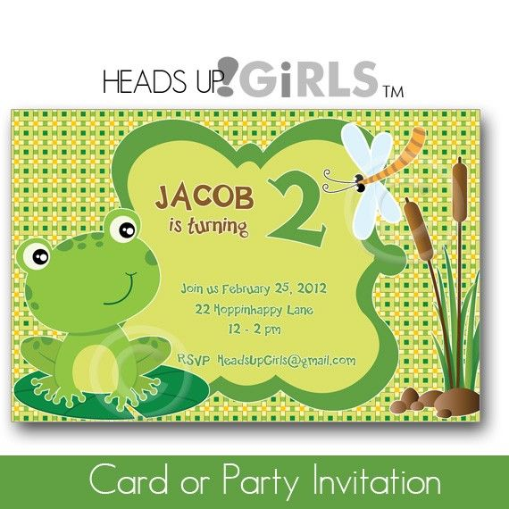 Frog diy party at headsupgirls invitaciones pinterest diy personalized frog and dragonfly birthday party or baby shower invitations for boys in green and yellow filmwisefo Images