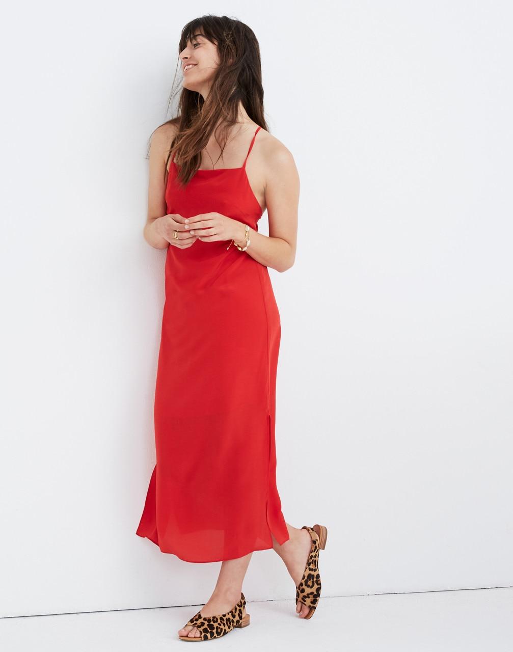 Silk Cross Back Slip Midi Dress Midi Dress Work Red Slip Dress Silk Slip Dress [ 1280 x 1007 Pixel ]