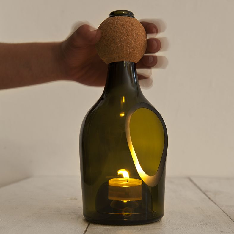 wine bottle candle lamp - Cool!