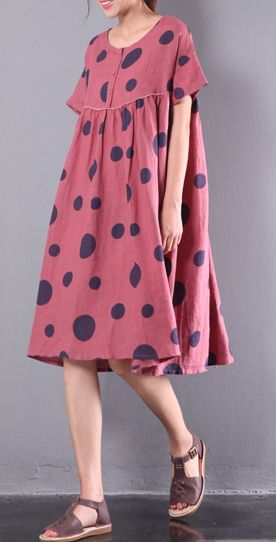f828d3b2d77 rose Red cute casual linen mid dresses oversize stylish sundress large hem  traveling dress2