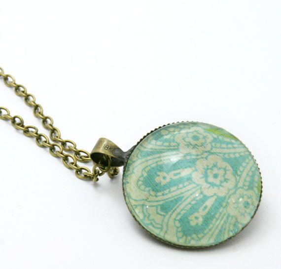 Antique Bronze Pendant  Bronze Cabochon by PureImpressions on Etsy, $14.99  #pendant, #diy, #black friday, #cyber monday, #blue necklace, #pure impressions