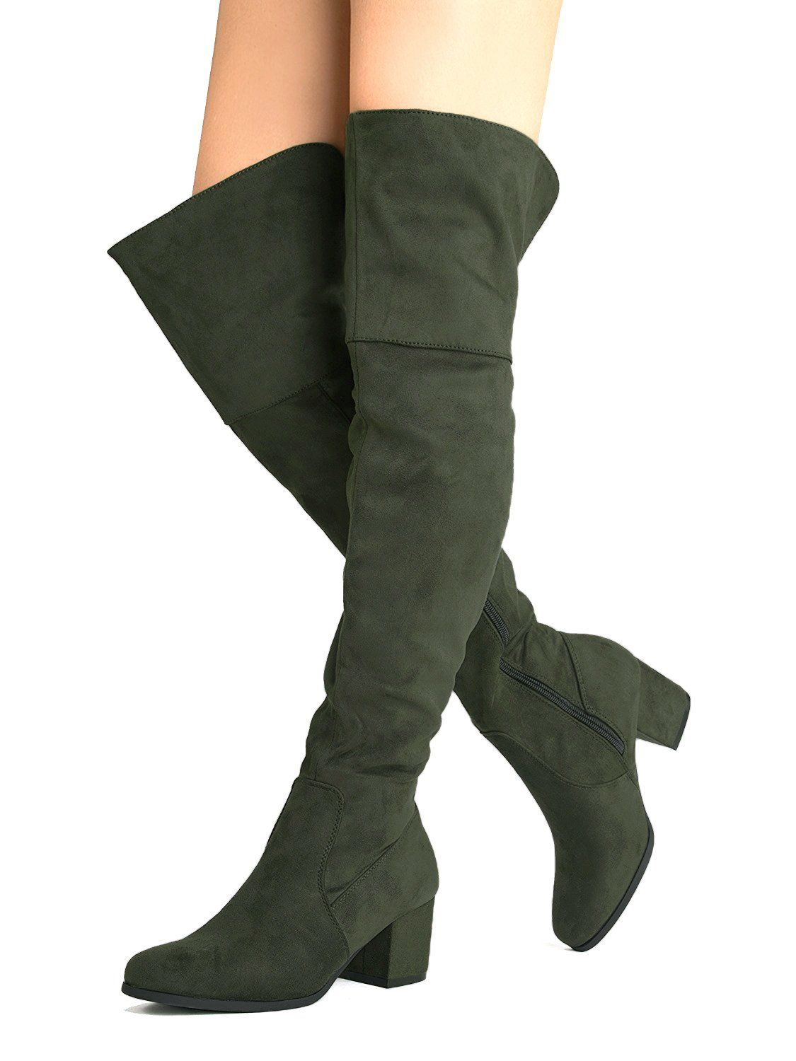 6f1a86f00178 OLIVIA K Womens Vegan Suede Thigh High Easy Block Low Heel Cut Out Back  Over The Knee Boots     See this great product. (This is an affiliate link)    ...