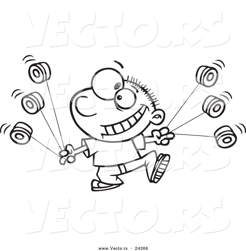 Vector Of A Cartoon Yo Yo Boy Boy Black And White Outline