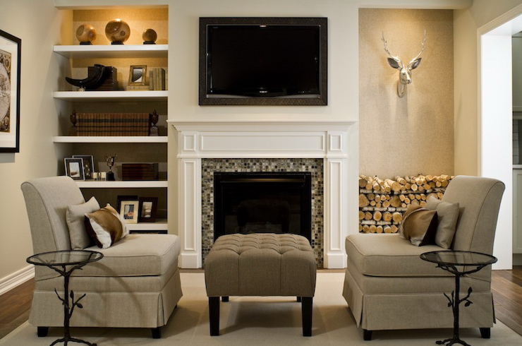 Tv Over Fireplace Floating Shelves On Either Side But