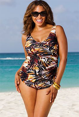 519ae827a3 Beach Belle Desert Palm Plus Size Sarong Front Swimsuit