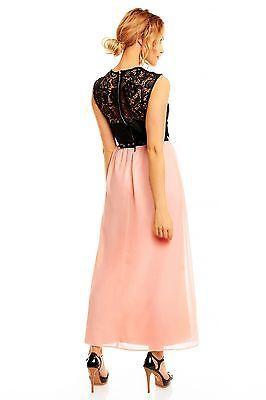 Abendkleid-Sommerkleid-Chiffonkleid-rosa-schwarz-Maxikleid-Spitze-Neu- d5afb40266