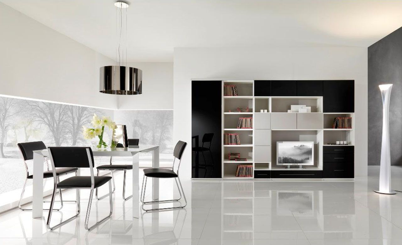 Black And White Dining Room With TV Unit Book Shelves