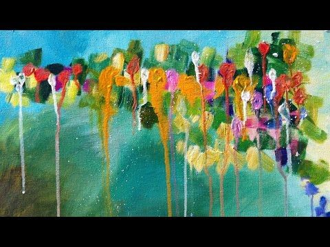 Download video Abstract Drip Floral Beginner Acrylic Painting