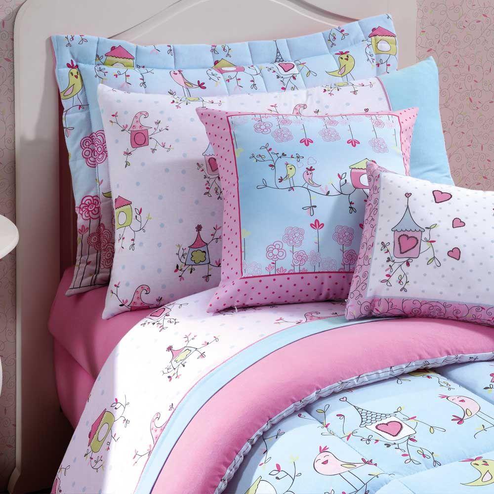 Jogo de cama solteiro king malha birds 3 pe as lynel for Cama unicornio