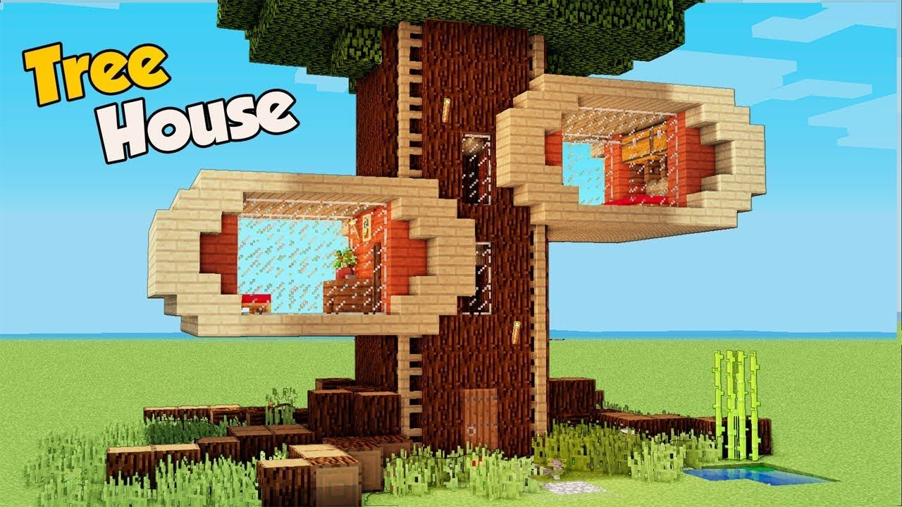 Marvelous Minecraft How To Build A 4 Players Tree House Tutorial Interior Design Ideas Pimpapslepicentreinfo