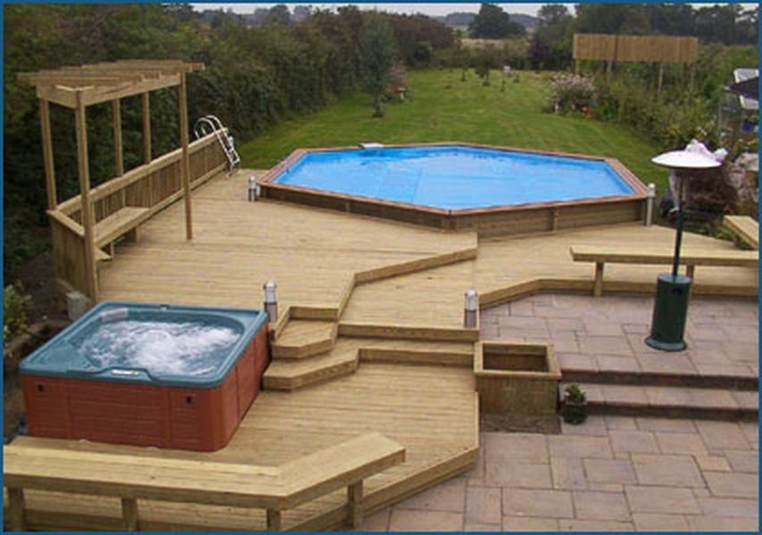 Got the very similar hot tub just need the above ground for Above ground pool decks with hot tub