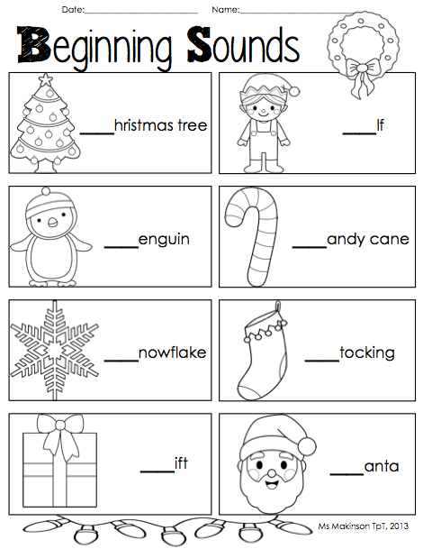 Literacy christmas worksheets