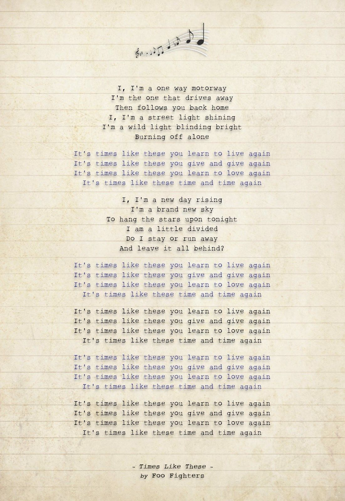 476 FOO FIGHTERS - Times Like These - Song Lyric Art Poster Print - Sizes A4 A3 - £6.95 | PicClick UK
