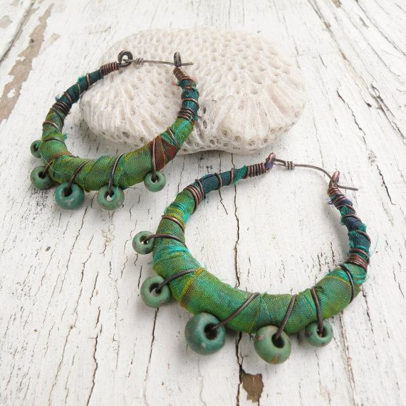 Gypsy Hoop Earrings Medium Silk Wrapped Eclectic by GypsyIntent, $44.00