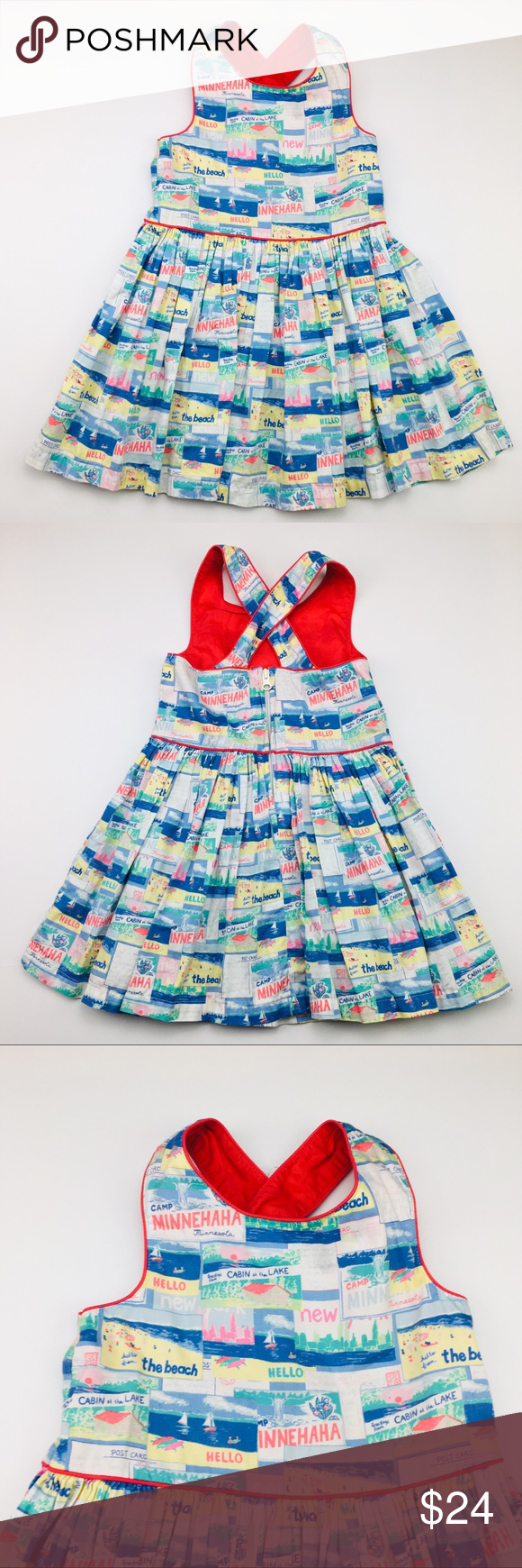 Summer Camp Postcard Retro Toddler Girl Dress 4t Toddler Girl Dresses Cotton Dress Summer Toddler Girl [ 1740 x 580 Pixel ]