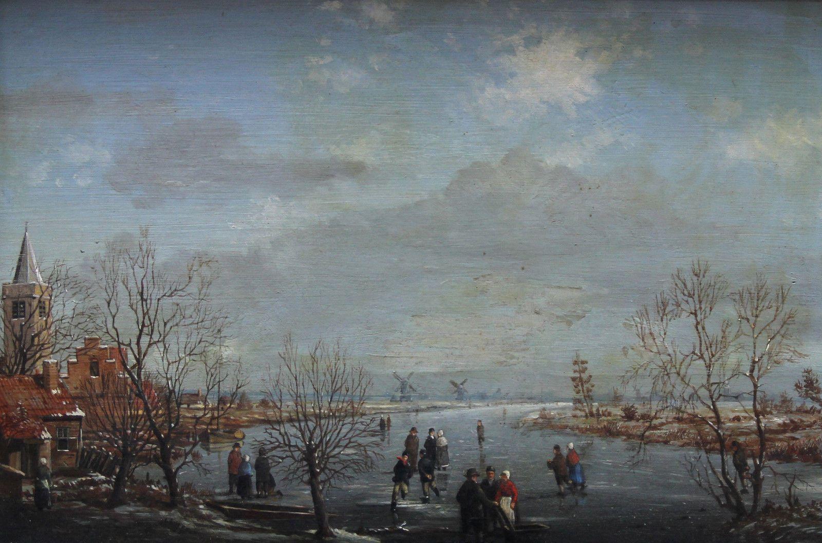 OLD MASTER DUTCH 18th CENTURY ICE SKATING LANDSCAPE OIL