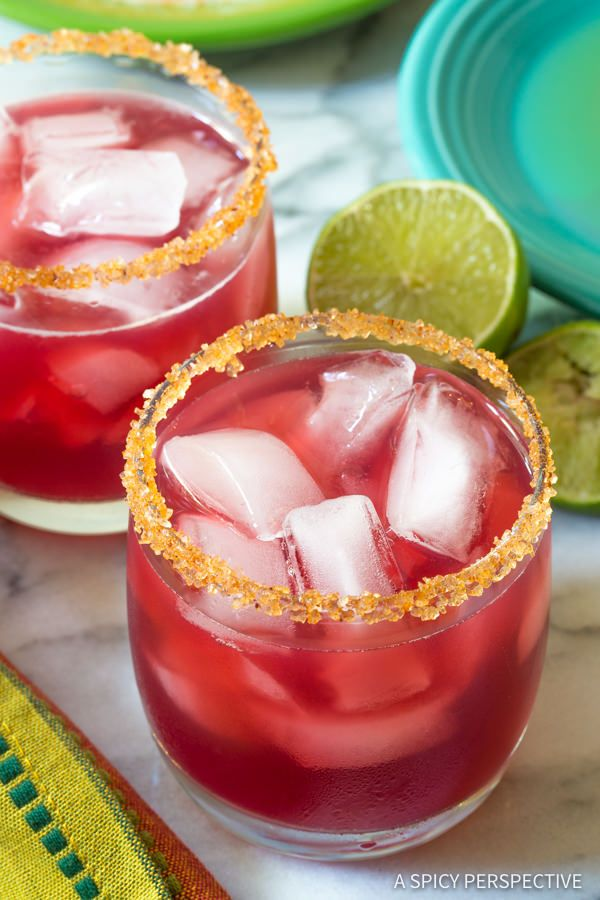 Easy Cranberry Pomegranate Margarita with Spiced Rim Recipe   ASpicyPerspective.com