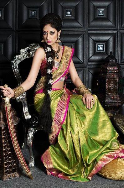 04c2808786e3ed Parrot Green Wedding Saree | Celebrities Sarees | Saree wedding ...