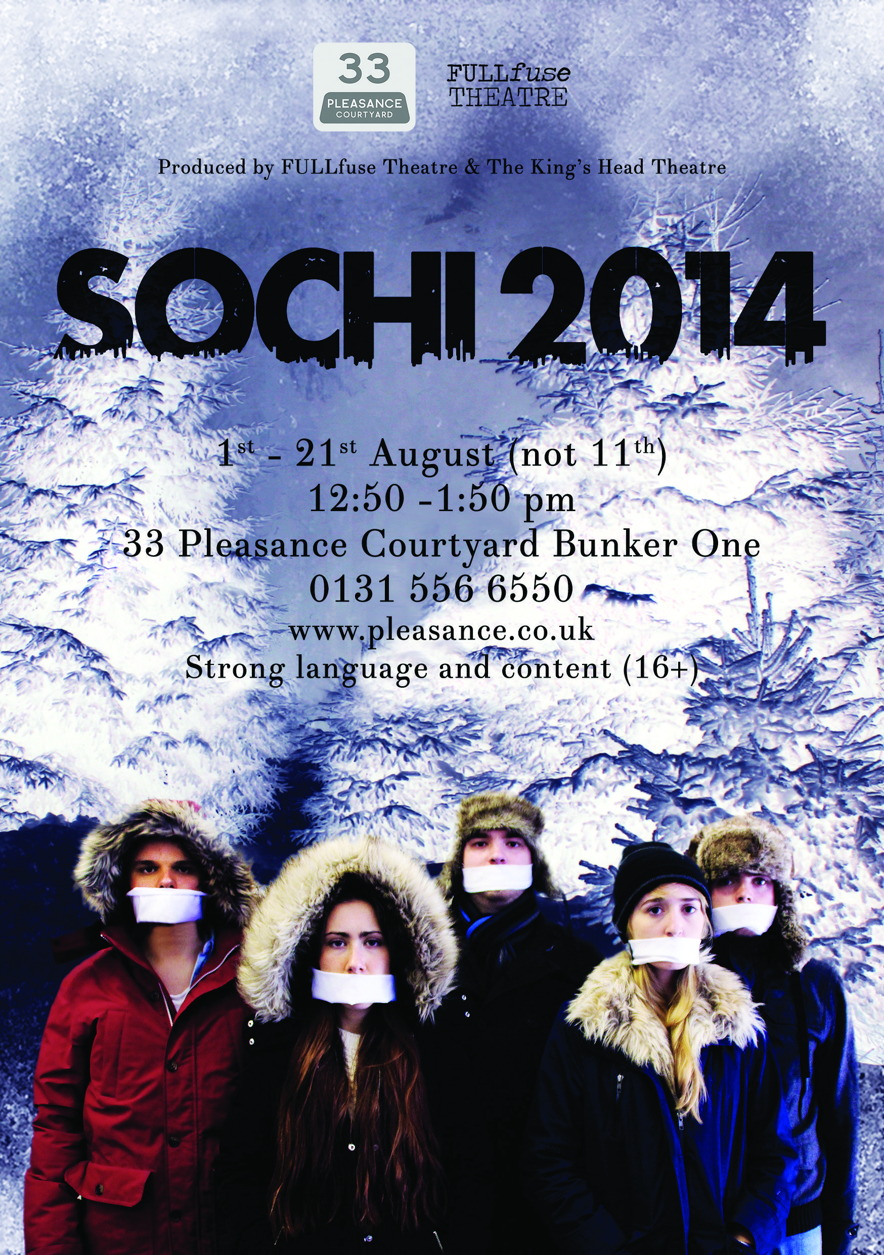 I'm producing this, so take a look!  'Sochi 2014' at this year's Edinburgh Fringe from FULLfuse Theatre and The King's Head Theatre. The Pleasance Courtyard, Bunker One, 12:50 pm to 1:50 pm from 1 August to 21 August (except for 11).  #edinburghfringe #edfringe