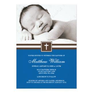 Dark Blue and Brown Cross Boy Photo Baptism 5x7 Paper Invitation