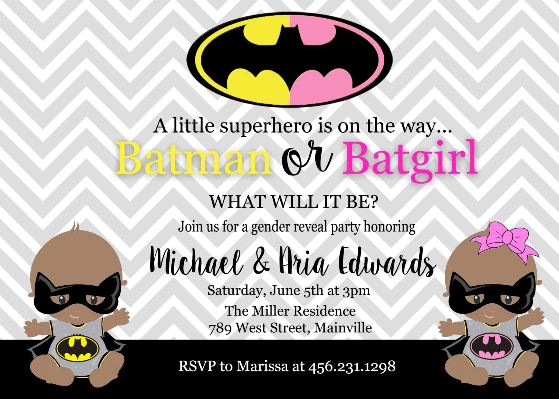 Batman, Batgirl, Baby Shower, Gender Reveal, Invitation, Party, Boy ...