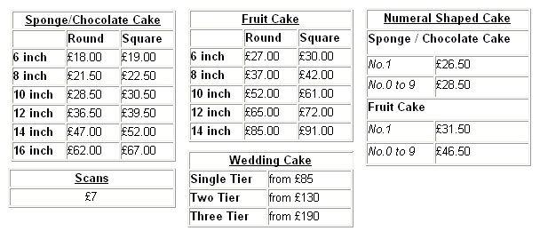 Cake Price List
