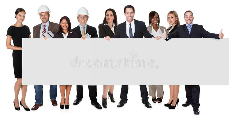 Group Of Business People Presenting Empty Banner Isolated On