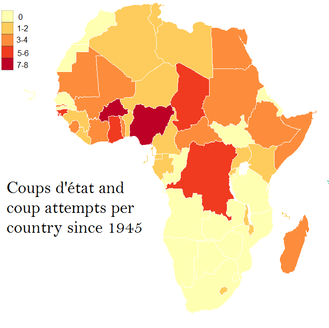 Coups d'état and coup and coup attempts per African country since
