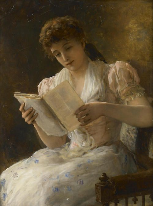 Portrait of a lady reading a book. William Oliver (1823 - 1901)