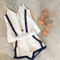 Love this black and white shirt short matching set and nude sandals!