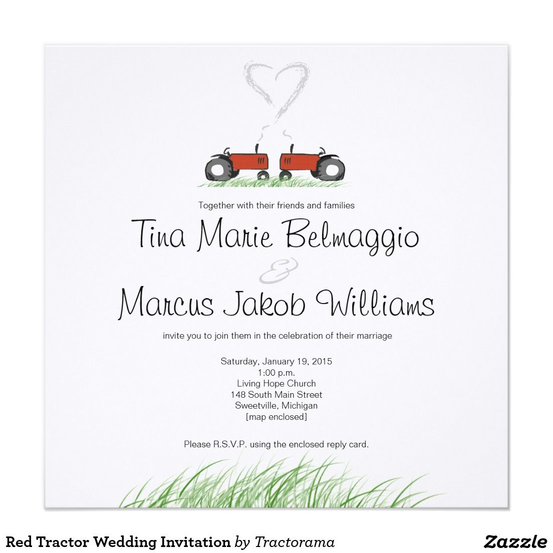 Red Tractor Wedding Invitation | Tractor