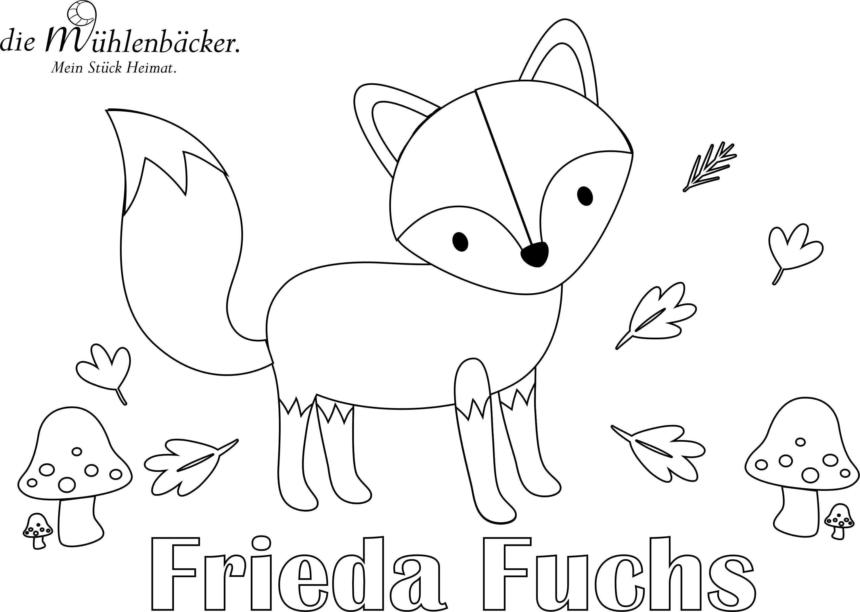 Frieda Fuchs Ausmalbild   Malvorlagen, Fuchs, Filz fuchs